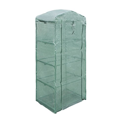 ALEKO GH27X19X63 Green Waterproof PE Mesh Cloth 4 Tier Plant Garden Outdoor Greenhouse Shed, 27