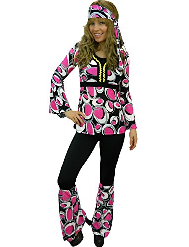 Yummy Bee Womens Hippy Costume 60s 70s Flower Power Plus Size 2 - 14