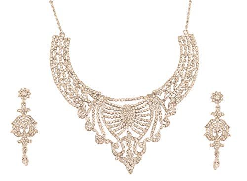Touchstone New Fine Faux Jewelry Collection Indian Bollywood Desire Fine Filigree Rhinestones Bridal Designer Jewelry Necklace Set in Silver Tone for -