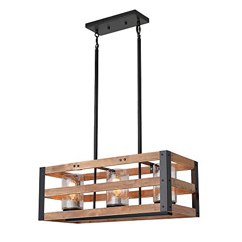 Eumyviv Rectangle Three Tiers Wood Metal Pendant Lamp with Glass Shade Black Finished Retro Rustic Vintage Industrial Edison Ceiling Lamp Linear Chandeliers (C0027 ()