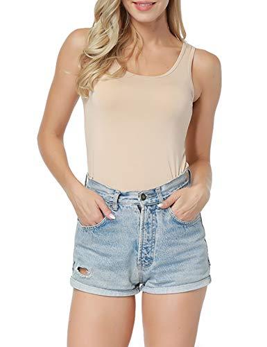 CINDYLOVER Nudy Patooty Undershirt Lightweight Heat Tech Sleeveless T-Shirt Beige M