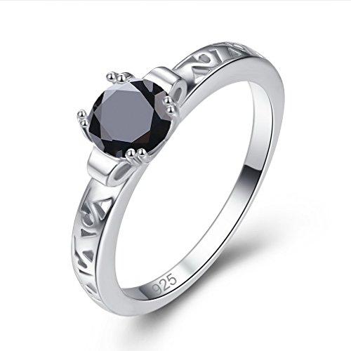 YAZILIND redondo negro anillos de diamantes de imitación forma hueca platino plateado Compromiso Promesa para mujeres...
