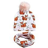 ❤️ Mealeaf ❤️ Baby Printed Detachable Pink Wool Hat Hospital Cap Printed Collar 2pc(K,)
