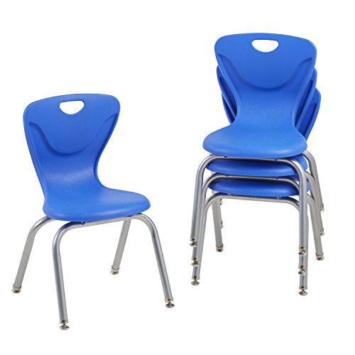 """UPC 763960607428, ECR4Kids 14"""" Contour School Stacking Student Chair, Molded, Blue (Set of 4)"""
