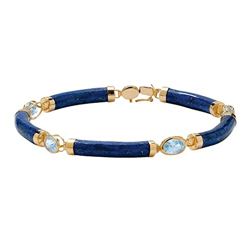 Genuine Blue Lapis and Topaz Gold Tone over .925 Sterling Silver Link Bracelet 7.5