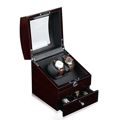 CRITIRON Luxury Automatic Dual Watch Winder with Drawer, Wood Rotating Watches Display Storage Case Box with Lock, Brown -