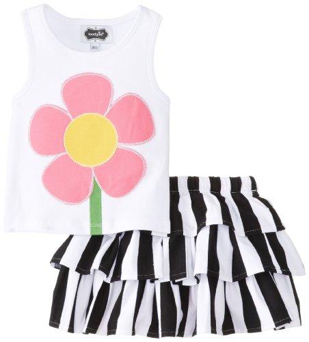 White Cotton Bold Floral Skirt - 3