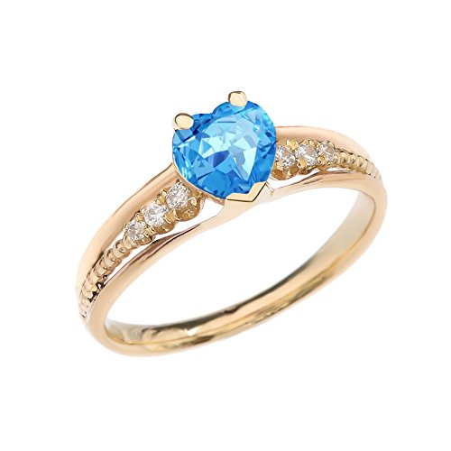 (Dazzling 10k Yellow Gold Diamond And Blue Topaz Birthstone Heart Beaded Promise Ring (Size 10.5))