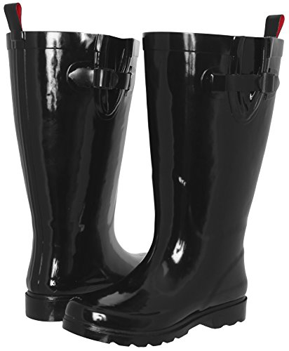 Capelli New York Ladies Shiny Tall Rubber Rain Boot Black 11