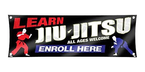 Learn JIU Jitsu (1ft X 3ft) Banner Enroll Sign Martial Arts School Academy Display Registration Poster