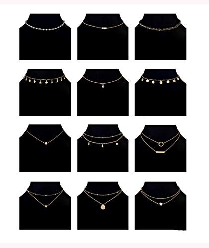 Ofeiyaa 6-12pcs Chain Gold Bead Necklace Coin Moon Star Pearl Pendant Chain Choker Multilayer Necklace Leather Cord Set for Women Girls Adjustable Gold Tone