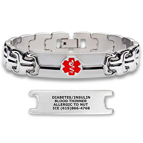 Divoti Deep Custom Laser Engraved Double Ridge Link 316L Stainless Steel Medical Alert ID Bracelet for Men with Free Engraving - Red -7.5