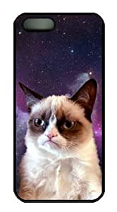 meilinF000Grumpy Cat with Galaxy Background Case for iphone 5/5s PC Material Black-Fits iphone 5/5s T-Mobile,AT&T,Sprint,Verizon and International Yang's CasemeilinF000