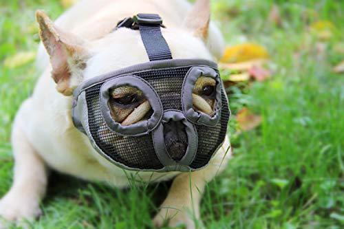 Short Snout Dog Muzzles - Adjustable Breathable Mesh Dog Muzzle with Eyehole for Bulldog Boston Terrier And Short-snouted Breeds to Anti-Biting Barking and Licking Chewing Barking Training Dog Mask ()
