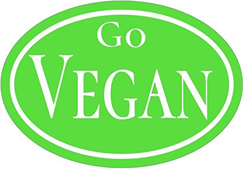 WickedGoodz Oval Green Go Vegan Vinyl Decal - Political Bumper Sticker - Perfect Vegetarian or Vegan Gift