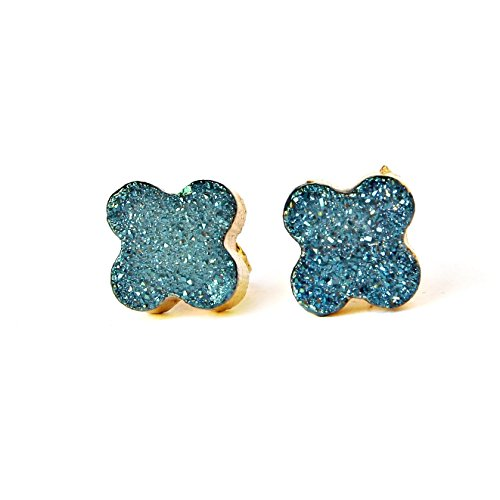 14k Gold Plated Handmade Raw Blue Agate Druzy Geode Stud Earrings