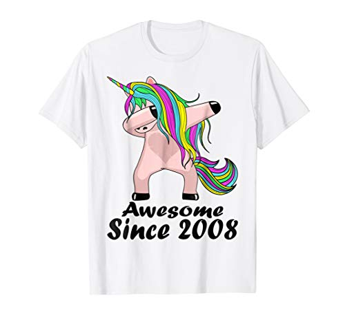 Kid 10 Yrs Old 10th Birthday Unicorn Dabbing Shirt 2008 Cute