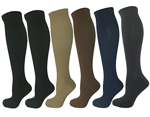 6 Pair Small/Medium Ladies Compression Socks, Moderate/Medium Compression 15-20 mmHg. Assorted Colors (2 Black, 1 Tan, 1 Grey, 1 Blue, 1 Brown). Therapeutic, Occupational, Travel & Flight, Knee-High.