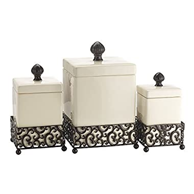 Durable Set of Three (3) Square Off White Ceramic With Pressed Metal Canisters with Lids ~ Storage & Home Decor Apothecary Jars Centerpiece,