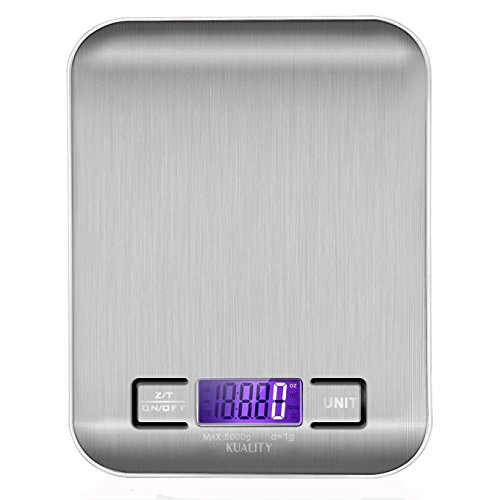 Kuality Multi-function Digital Kitchen Food Scale, 11lb 5kg Stainless Steel Platform with LCD Display, g/oz/lb/ml Switchable Electronic Scale for Cocking, White