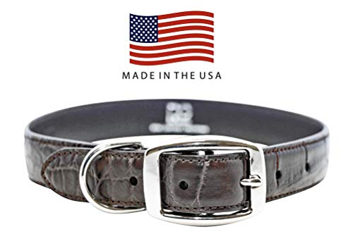 (Real Leather Creations Dog Collar - Brown Genuine Alligator Skin - Natural Cowhide Leather Backing - American Factory Direct - Made in USA Small FBA1089)