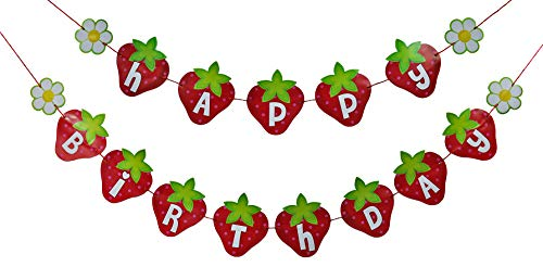 Strawberry Birthday Garland Banner - 6 ft (Strawberry Shortcake Birthday Banner)