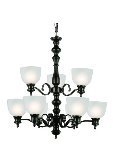Trans Glob Lighting 7299 ROB Trans Globe Lighting 9 Light Back Basics Chandelier Light Fixture, Rubbed Oil Bronze, 28