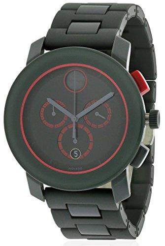 Bold Chronograph Black Dial Dark Grey SS Band Quartz Mens Watch - Movado 3600272