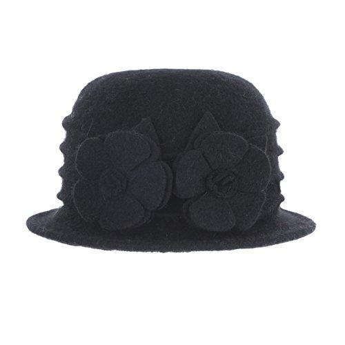 Prefe Women 100% Wool Felt Round Top Cloche Hat Fedoras Trilby With Flower (Black, Free) by Prefe