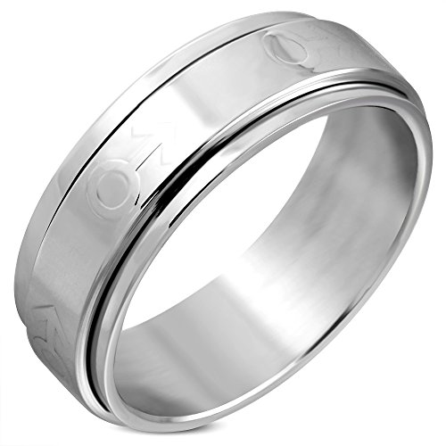 Stainless Steel Spinning Wedding Flat Band Ring Size 12 5mm Stainless Steel Spin Ring