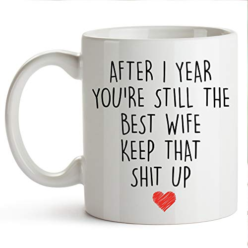 YouNique Designs 1 Year Anniversary Coffee Mug for Her, 11 Ounces, 1st Wedding Anniversary Cup For Wife, One Year, First Year, 1st Year (Best 1 Year Wedding Anniversary Gifts For Her)