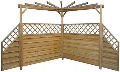 Pergola de madera para esquinas con diseño de rosas para plantas, jardín, barbacoa, barbacoa, cenador rústico, estructura de madera, valla, patio exterior, patio, patio grande, muebles, arco, parasol, kit de techo: Amazon.es: