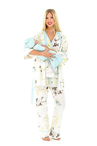 Olian Maternity - Olian 5 Piece Nursing PJ Set with Baby Outfit - S - Blue Floral Asian Print