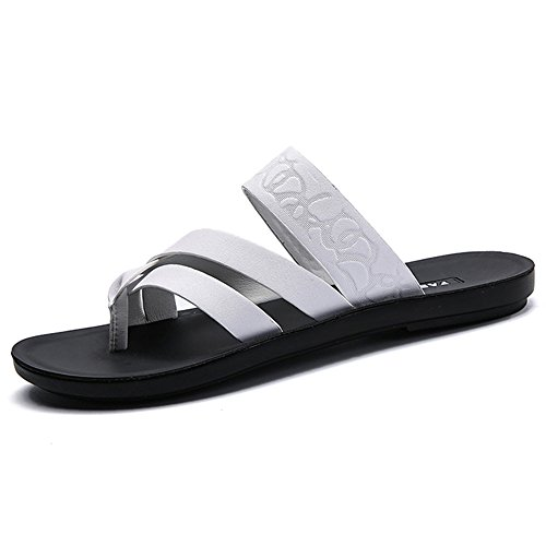 HUO Sandals Sandalias Ocasionales Respirables Zapatos De Playa De Fondo Gruesos Hombre Impermeable Zapatillas Antideslizantes Negro Blanco Blanco