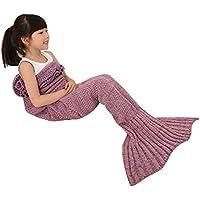 Mermaid Tail Blanket for Kids, OKAYSHOP Crochet Knitting...