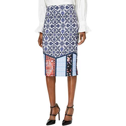 ECI New York Women's Elastic Waist Pull on Printed midi Length Skirt, Navy, L
