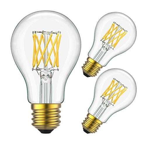 - Yiizon LED Filament Bulb 10W (100W Equivalent), Classic Edison A19/A60 LED Light Bulbs, E26 Medium Base Lamp, 4000K Daylight (Neutral White), 1000 Lumens,Dimmable LED Edison Bulbs, Pack of 3