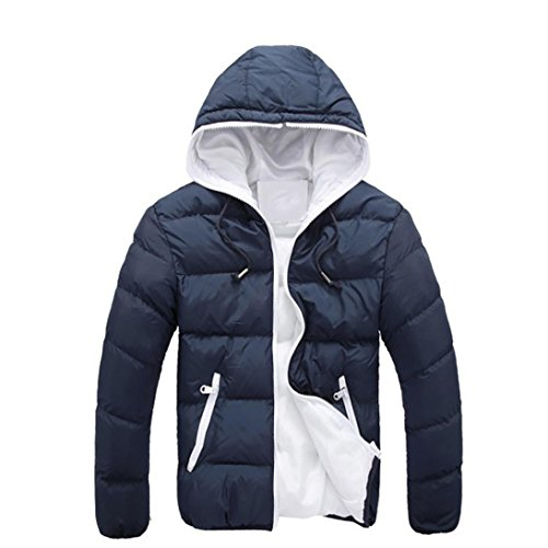 Hot Sale! Ankola Men's Winter Casual Slim Quilted Puffer Jacket Hooded Parka Coat with Fixed Hood (Navy, L)