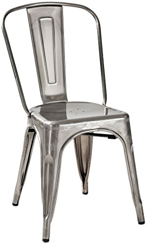 Crosley Furniture Amelia Metal Cafe Chair - Galvanized (Set of 2)
