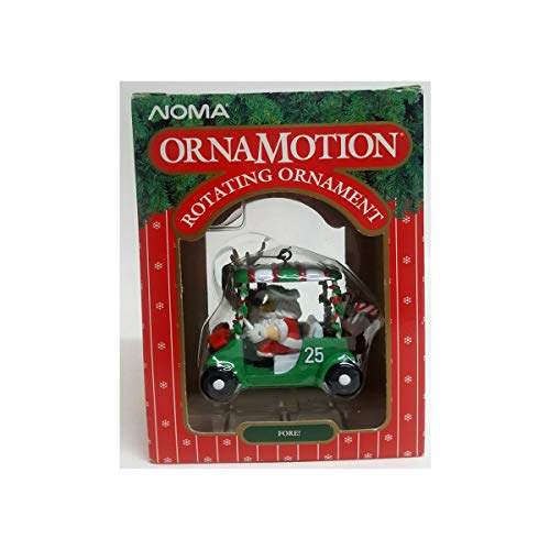 NOMA Vintage 1989 Ornamotion Rotating Ornament Fore! Golfing Santa in Golf Cart