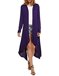 Meaneor Women's Long Sleeve Waterfall Asymmetric Drape Open Long Maxi Cardigan