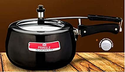 PRINGLE Black Induction Base Aluminium Body & Outer Lid Pressure Cooker (3 litres)
