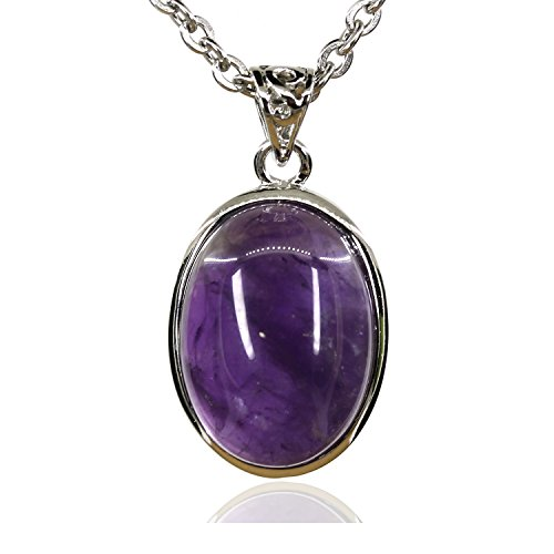 Oval Womens Charm - Gemstone Natural 20MM A Grade Amethyst Oval Charm Chakra Pendant Necklace 18
