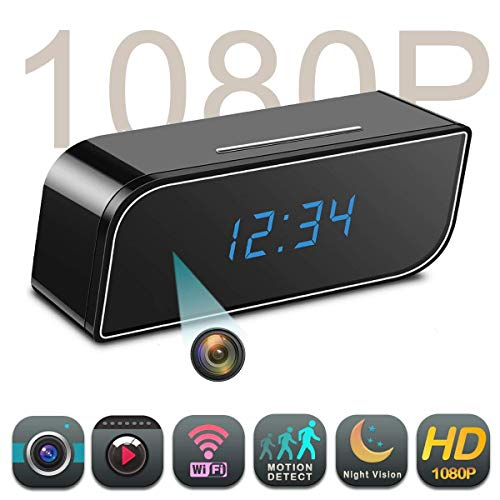 Spy Camera, HD 1080P WiFi Hidden Camera in Clock, 150?Angle Night Vision Motion Detection, Baby&Pet Surveillance, Realtime Video for Home Security