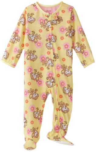 Little Me Baby Girls' Monkey Zip Footie, Yellow Multi, 24 Months