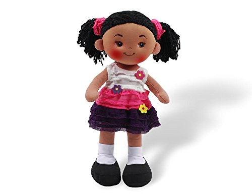 Linzy Toys Aissa Handmade Fabric Rag Doll with Pink Dress 16 Inch