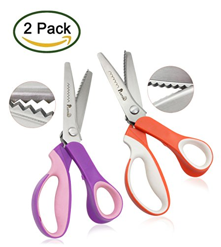 New Pinking Shears, 2 Piece Set, Serrated and Scalloped, P.LOTOR 9.3 Inches Handled Professional Sta...