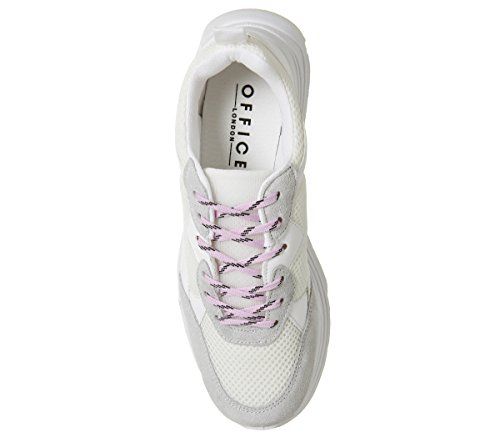 Office Fizzled Chunky Lace up Trainers White With Lilac Laces IUwKsWIaM