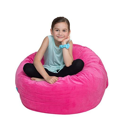 "Stuffed Animal Storage Bean Bag Chair 38/"" Extra Large Pink clean up stuff n sit"