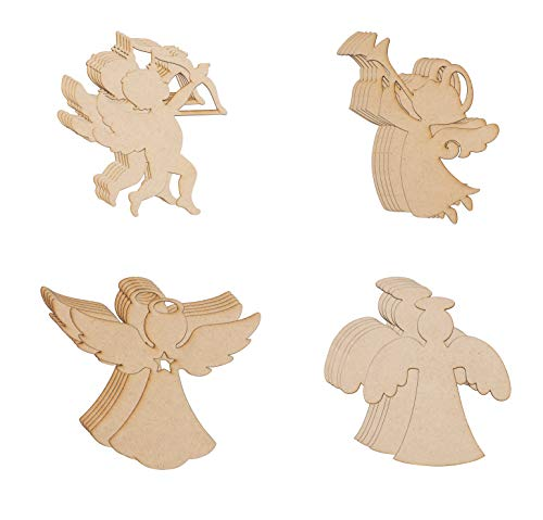 Wood Cutouts - 24-Pack Unfinished Wooden Cutouts, 4 Angel, Cherub, Cupid Shapes for DIY Arts and Crafts Projects, Decorations, Ornaments, 6 of Each